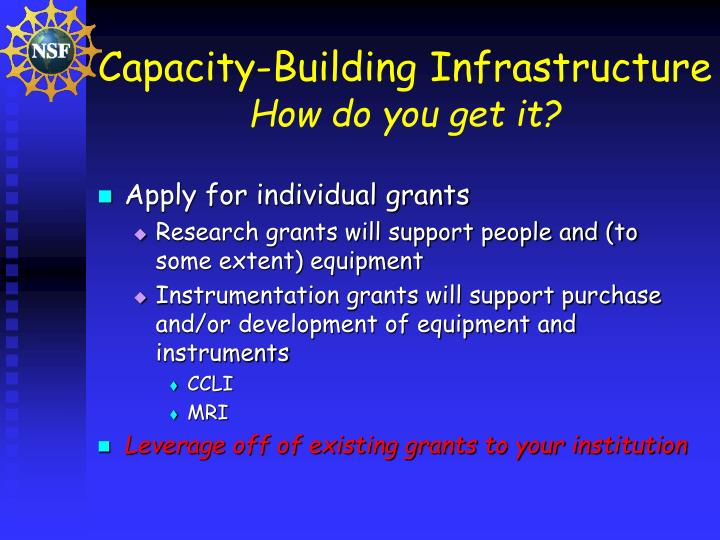 Capacity building infrastructure how do you get it
