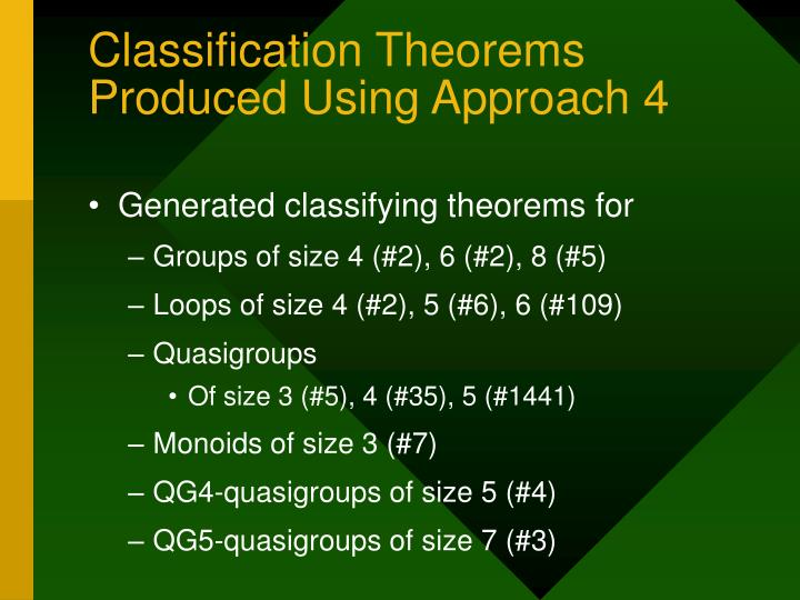 Classification Theorems Produced Using Approach 4