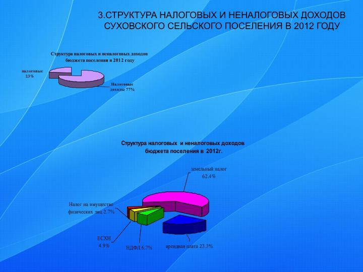 3.СТРУКТУРА НАЛОГОВЫХ И НЕНАЛОГОВЫХ ДОХОДОВ СУХОВСКОГО СЕЛЬСКОГО ПОСЕЛЕНИЯ В 2012 ГОДУ
