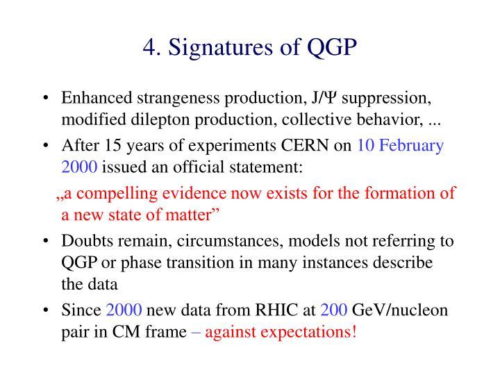 4. Signatures of QGP