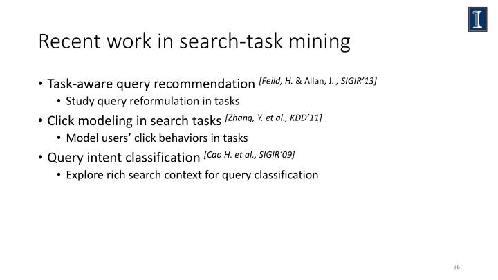 Recent work in search-task mining
