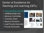 center of excellence for teaching and learning cetl