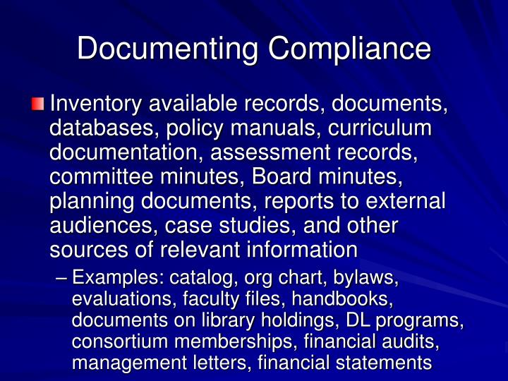 Documenting Compliance