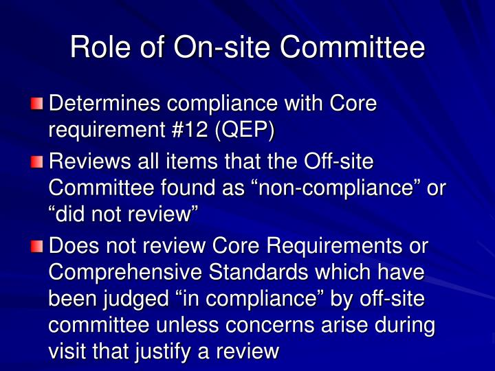 Role of On-site Committee