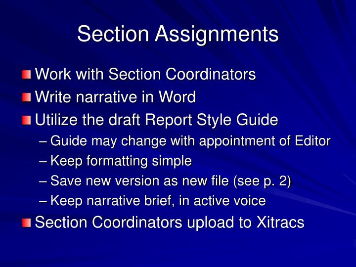 Section Assignments