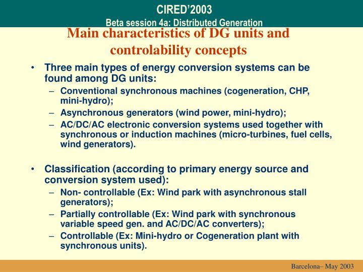 Main characteristics of dg units and controlability concepts