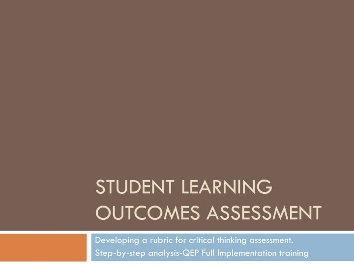 student learning outcomes assessment n.
