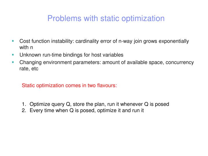 Problems with static optimization
