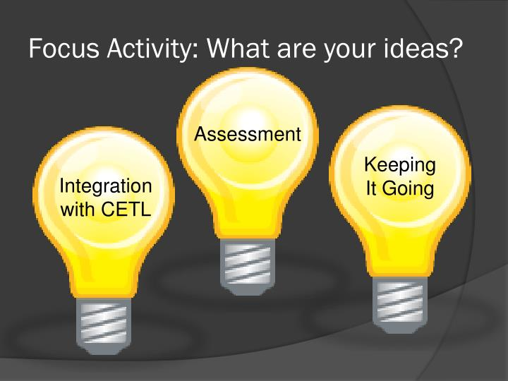 Focus Activity: What are your ideas?