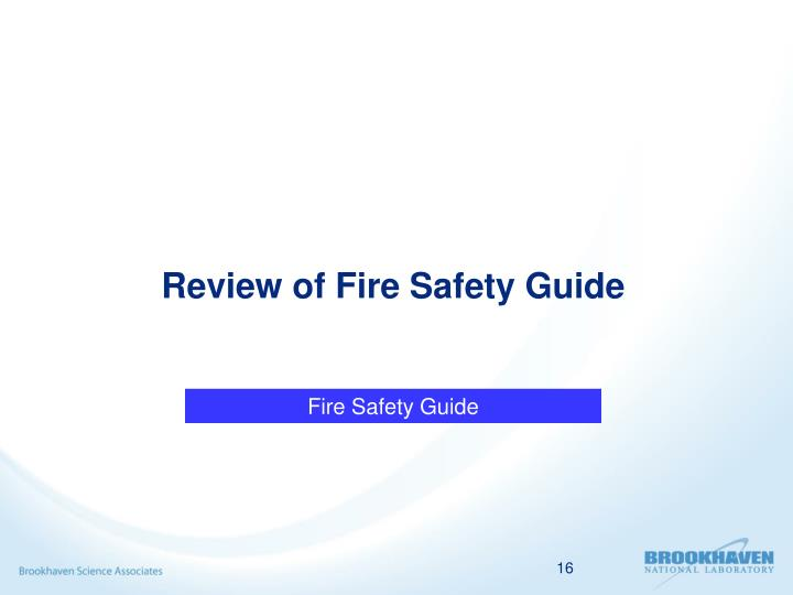 Review of Fire Safety Guide