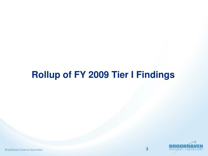 Rollup of fy 2009 tier i findings