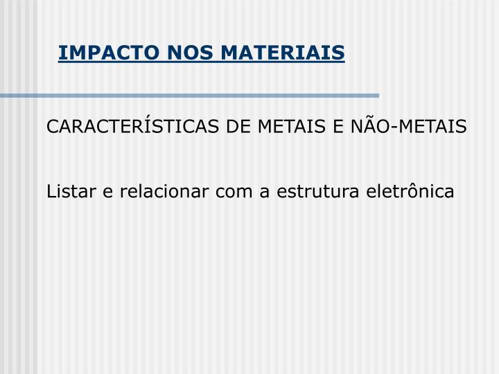 IMPACTO NOS MATERIAIS