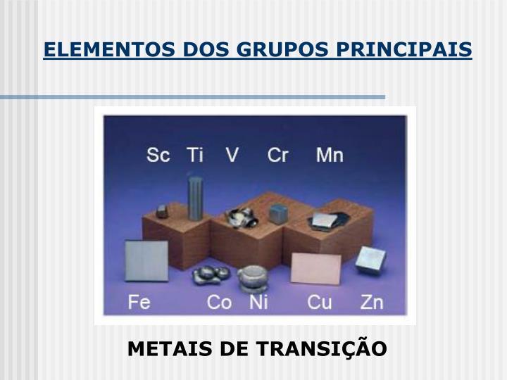 ELEMENTOS DOS GRUPOS PRINCIPAIS