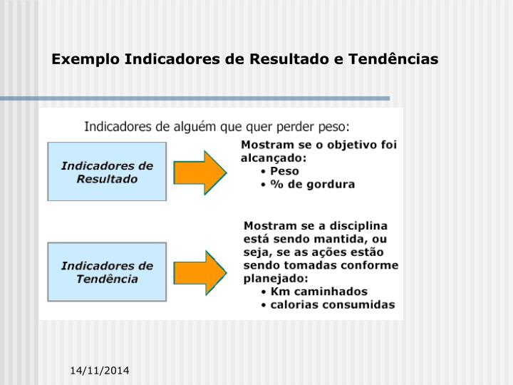 Exemplo Indicadores de Resultado e Tendências