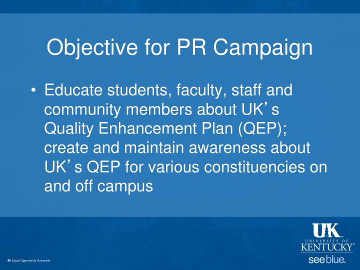 Objective for pr campaign