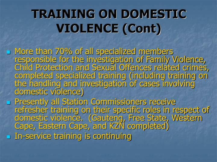 TRAINING ON DOMESTIC VIOLENCE (Cont)