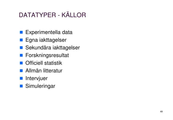 DATATYPER - KÄLLOR
