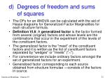 d degrees of freedom and sums of squares
