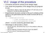 vi c usage of the procedure