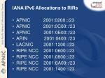 iana ipv6 allocations to rirs