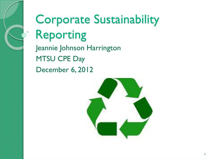 corporate sustainability reporting n.
