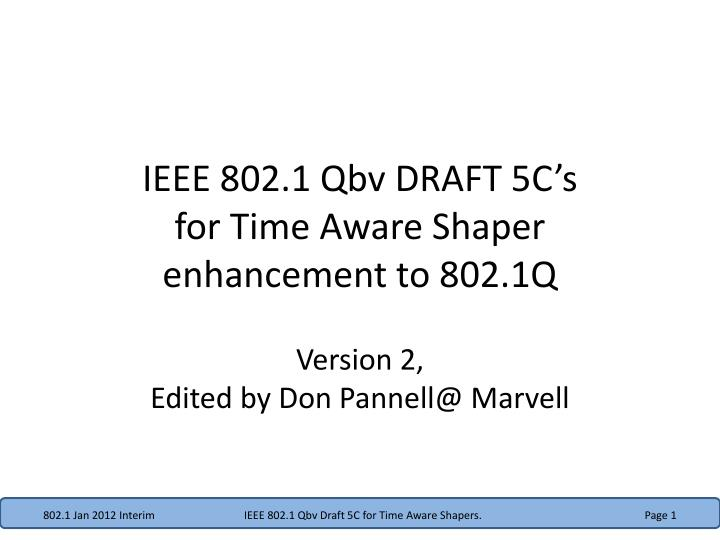 Ieee 802 1 qbv draft 5c s for time aware shaper enhancement to 802 1q
