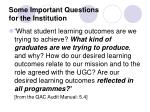 some important questions for the institution