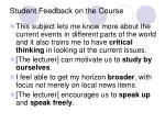 student feedback on the course