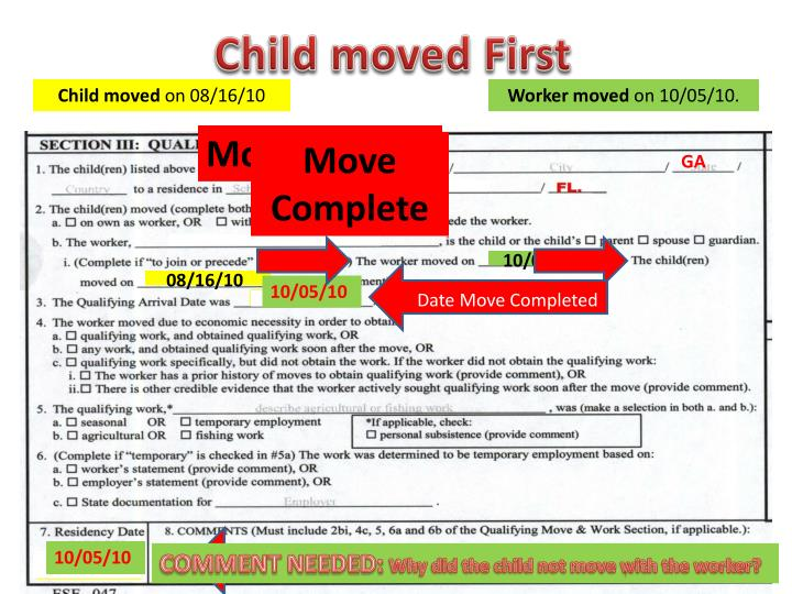 Child moved First