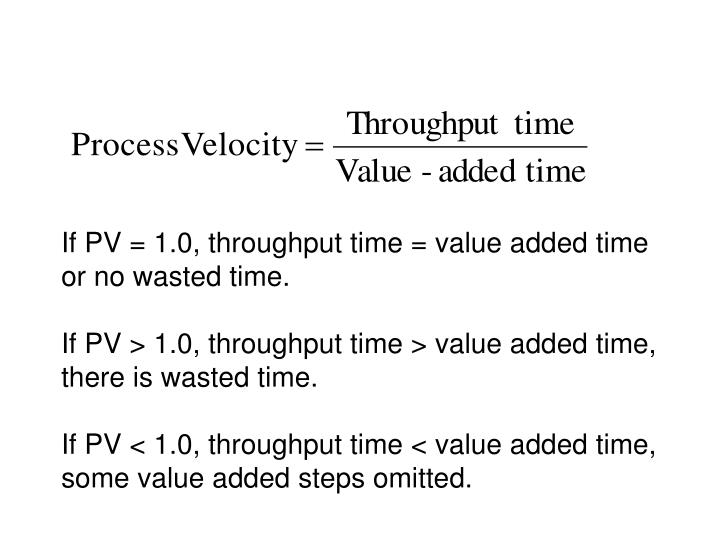 If PV = 1.0, throughput time = value added time