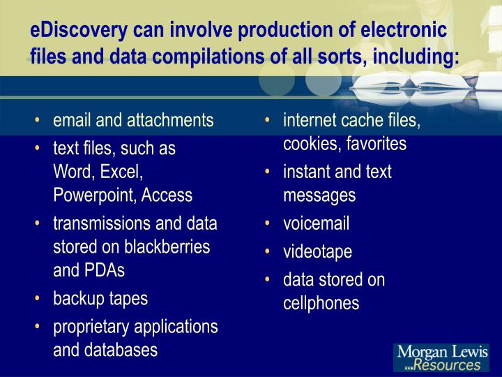 eDiscovery can involve production of electronic files and data compilations of all sorts, including: