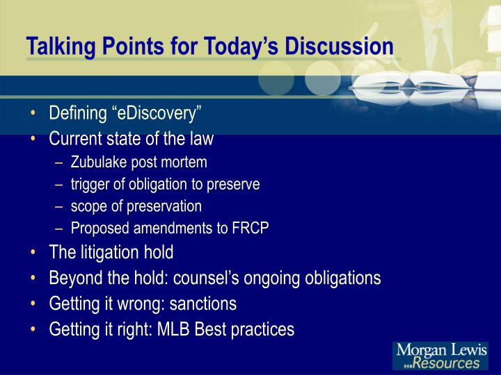 Talking points for today s discussion