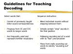 guidelines for teaching decoding