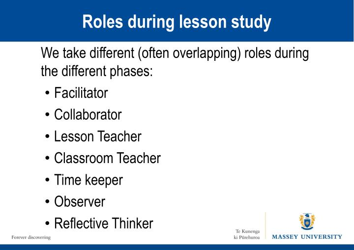 Roles during lesson study