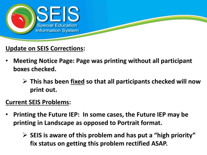 Update on SEIS Corrections