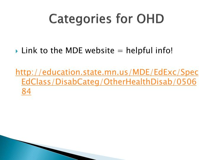 Categories for OHD