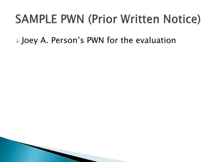 SAMPLE PWN (Prior Written Notice)