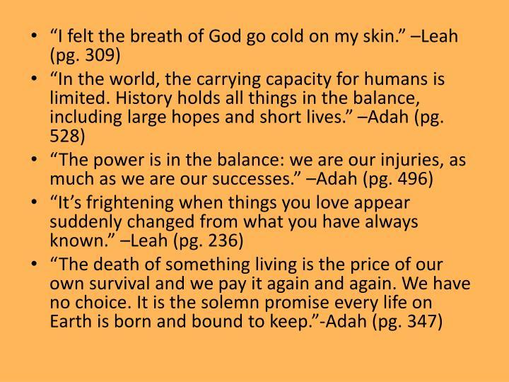 """""""I felt the breath of God go cold on my skin."""" –Leah (pg. 309)"""