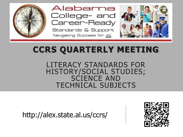 ccrs quarterly meeting literacy standards for history social studies science and technical subjects n.