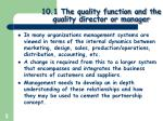 10 1 the quality function and the quality director or manager