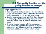 10 1 the quality function and the quality director or manager6
