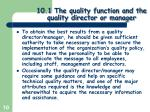 10 1 the quality function and the quality director or manager7