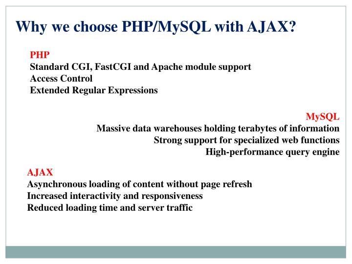Why we choose PHP/MySQL with AJAX?