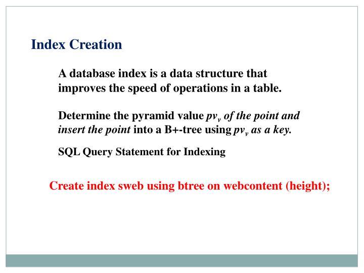 Index Creation