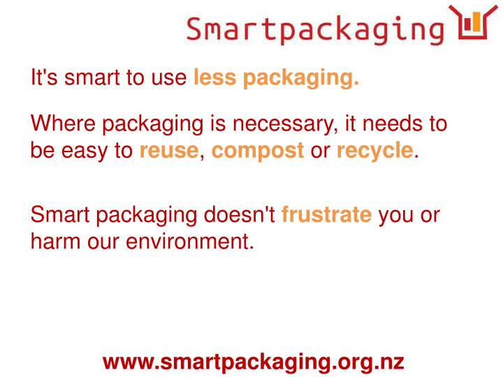 Where packaging is necessary, it needs to be easy to
