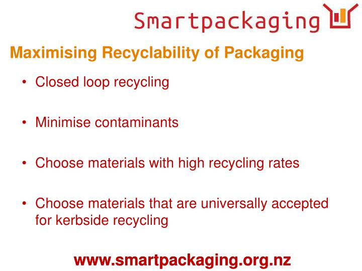 Maximising Recyclability of Packaging