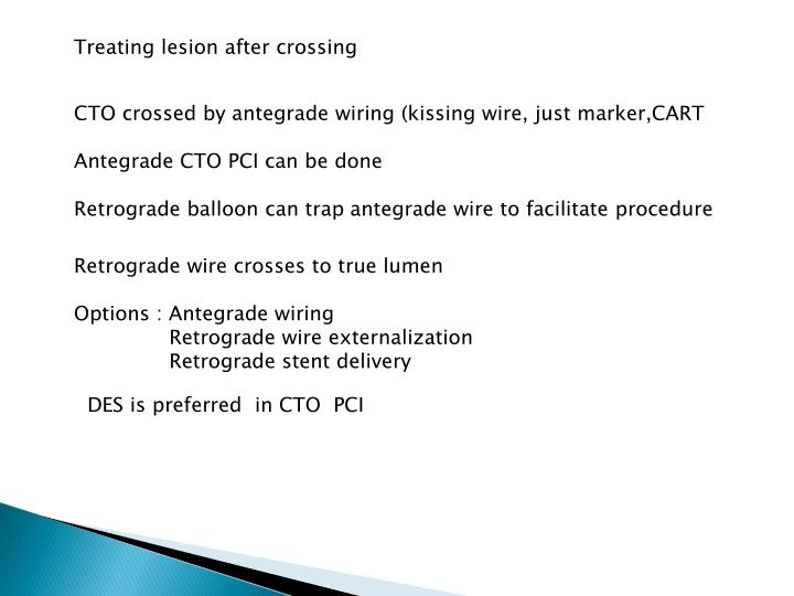Treating lesion after crossing