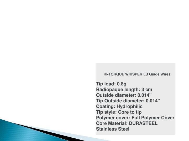 HI-TORQUE WHISPER LS Guide Wires