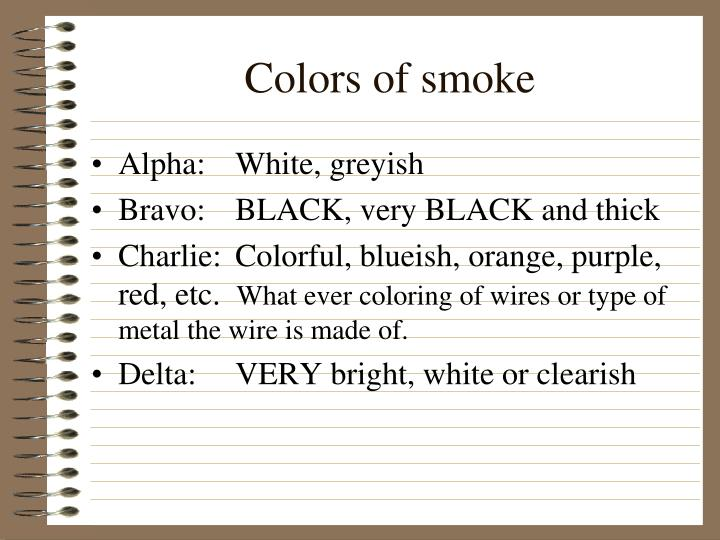 Colors of smoke