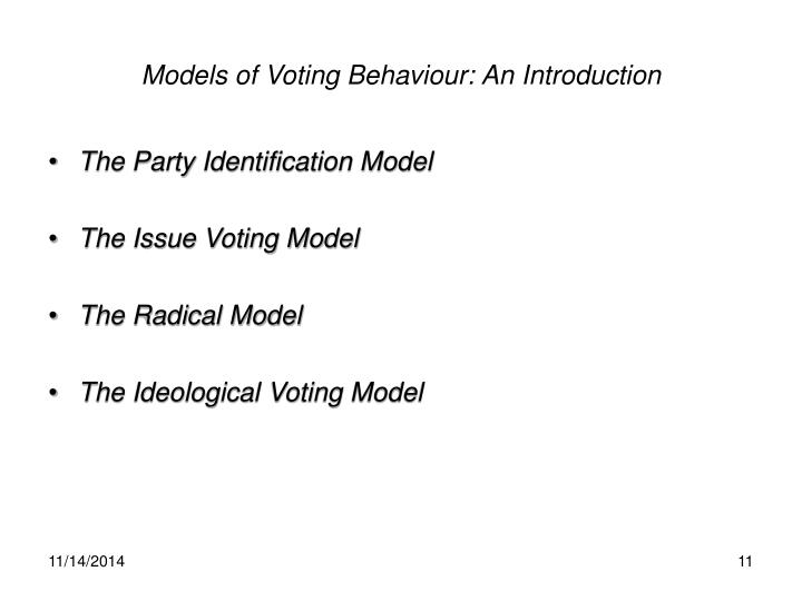 Models of Voting Behaviour: An Introduction